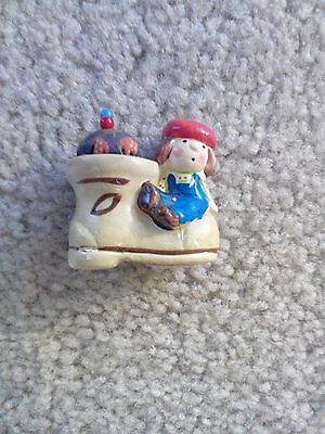Vintage Pin Cushion Made in Japan Little Girl Sitting on Shoe Red Hat 1 1/2' Tal