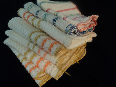 lot 7 vintage dish cloths 100% cotton, plaid