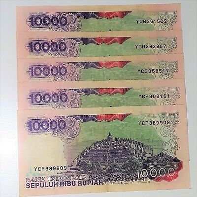 1992 10000 Rupiah Indonesia Banknote EF. Set of 5 notes all with serial Yxxxx