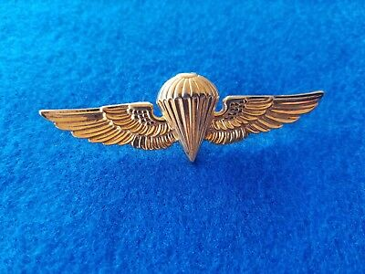 Post Wwii Ww2 Usmc Navy Paratrooper Jump Wings Pin Gold Tone Service Pin L@@k