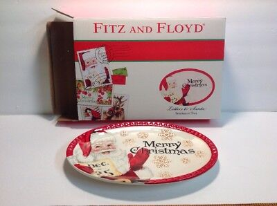 FITZ AND FLOYD Letters to Santa Sentiment Tray NIB NEW Merry Christmas