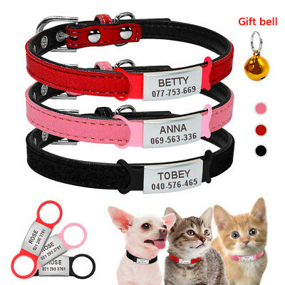 Soft Suede Leather Dog Collar & Slide on Dog Tags Free Engraved for Small Dogs