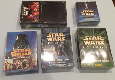 5 Star Wars Sealed Wax Boxes- Ep1, AOTC, galactic files, trilogy widevision