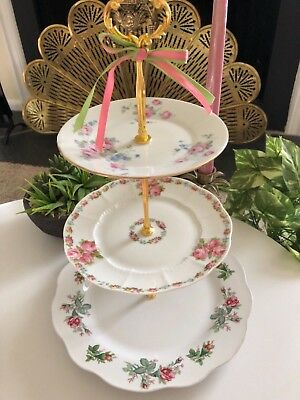 Antique Rose Wedding Cake Stand 3 Tier Serving Tray Nikko Plate 3 In