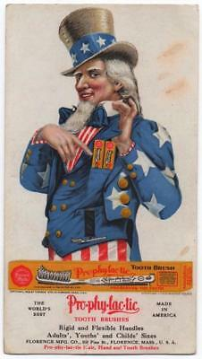 Rare 1908 Uncle Sam advertising blotter  Prophylactic Toothbrush  Great image