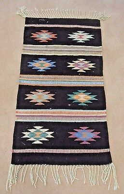"ZAPOTEC INDIAN RUG, Hand Woven Wool, Colorful Traditional Design, 40"" by 22"""
