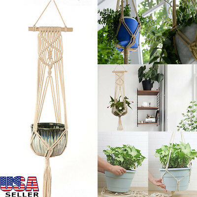 Macrame Plant Hanger Pot Holder Hanging Planter Basket Jute Rope Braided Craft