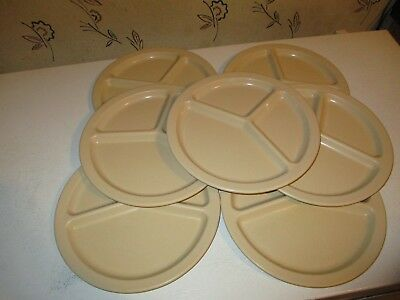 """7 VtgTexas Ware Melmac 10"""" Divided 3 Section Plates Picnic / Camping / Cafeteria"""