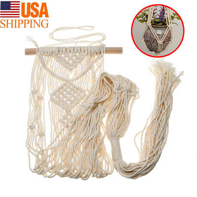Pot Holder Macrame Planter Hanger Hanging Basket Jute Rope Braided Craft Braided