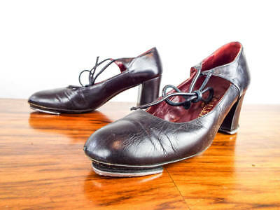 Vintage Pair of Black Leather Womens Italian Tap Shoes Hifi by Selva
