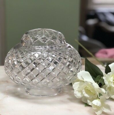 Antique Vintage Art Deco Cut Crystal Glass Boudoir Mushroom Table Lamp Shade