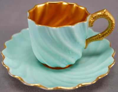 Coalport T62 Fluted Swirl Seagreen & Gilt Coral Handle Demitasse Cup 1891 - 1920