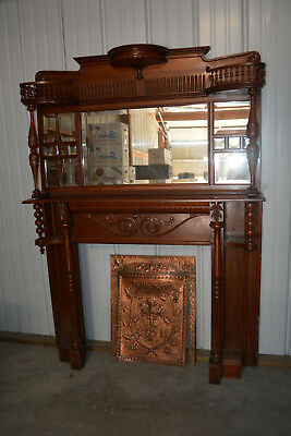 Antique Victorian Style Fireplace Mantel with mirror, fireplace cover & surround