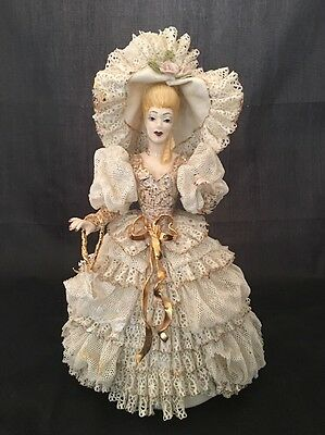 """Rare 11"""" Tall Heirlooms of Tomorrow White & Gold Lace Victorian Woman Figurine"""