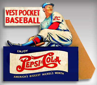 Pepsi=Cola Die-Cut Easel Back Vest Pocket Baseball Store Counter Sign