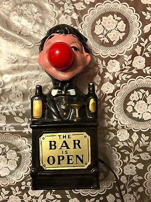 Vintage The BAR is OPEN Sign / Statue Bartender Man w/ Red Nose