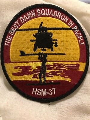 """NAVY HSM-37 EASYRIDERS PATCH /""""THE BEST DAMN SQUADRON IN PACIFIC/"""" U.S GA18-1"""