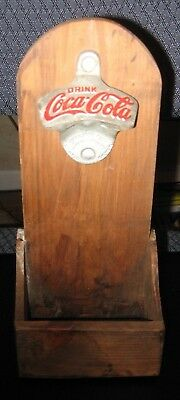 Vintage Starr X Coca Cola Bottle Opener Wall Mount wooden cap catcher Brown Co