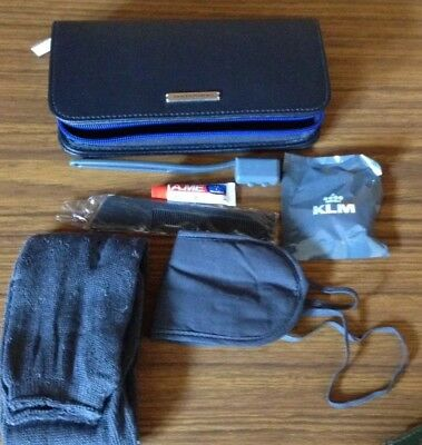 KLM Airline Jantaminiau Amenities Case Bag Blue Travel Zipper Full a