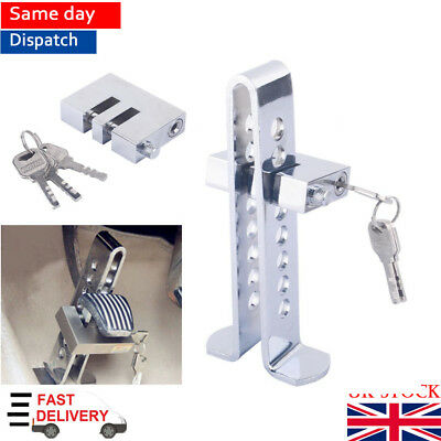 Car Stainless Steel Brake Clutch Steering Wheel Pedal Lock Security  Anti-theft