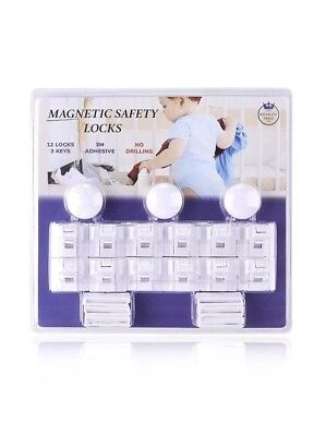 Baby & Child Proof Magnetic Safety Locks for Cabinets & Drawers - 12 Locks with