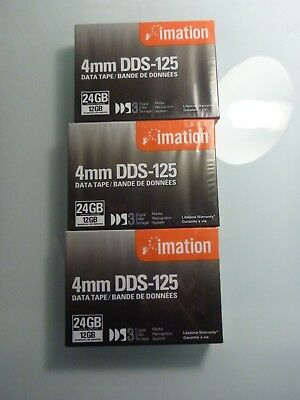 3 x IMATION DDS-125 4mm DATA CARTRIDGE TAPES 24GB Compressed 12GB Native