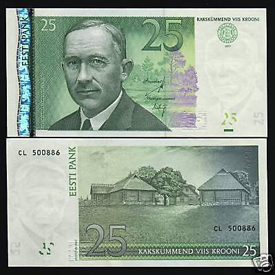 Estonia 25 Krooni P87B 2007 Log Construction Euro Unc Currency Money Bank Note