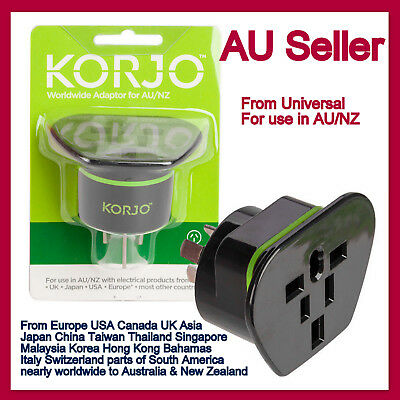 Korjo World Travel AC Adapter Charger Converter-From Universal to AU AUS NZ Plug