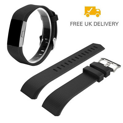 Black Soft Silicone Replacement Spare Band Strap for Fitbit Charge 2 Wristband L