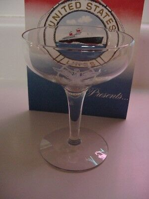 SS UNITED STATES LINES  Insignia Champagne Glass  /  A New/Old Stock Item