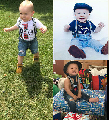 AU STOCK Baby Kids Boy Denim Jeans Bottom Suspender Pants Shorts Clothes Outfits