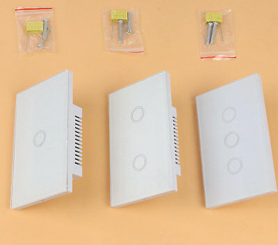 LED Light Smart Touch Screen Wall Switch 1 Way 1 2 3 Gang Crystal Glass Panel