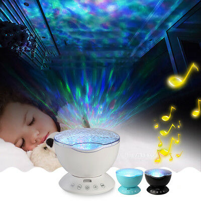 12LED 7Colors Lamp Remote Control Ocean Wave Projector Nightlight For Rooms US