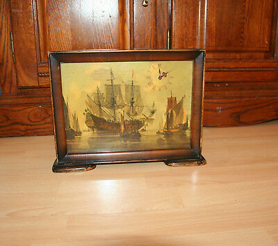 Wooden Framed Paint With Smiths Clock Mantel Antique Vintage