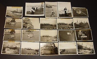 20 Photo Lot 1950s USS Roosevelt CVB42 Navy Aircraft Carrier Antique Life Scenes