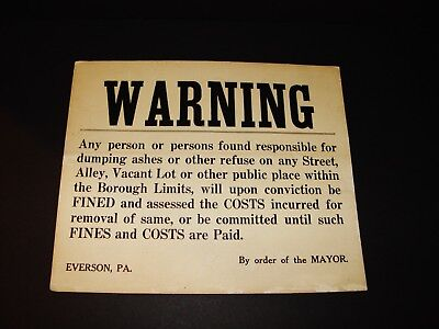 Antique Everson Mayor Street Dumping Sign Poster Fayette County Scottdale PA