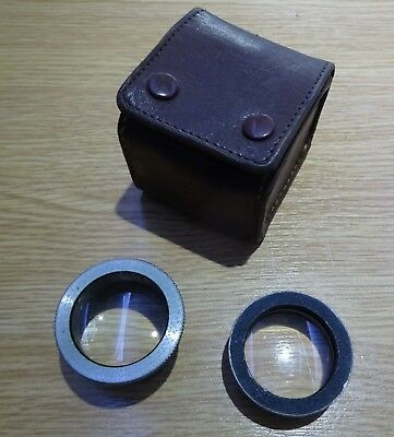 Vintage lenses. possibly Projector. In small leather case.