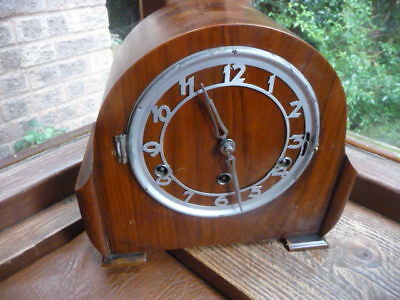 vintage  wooden  cased  mantle clock  with german  fhs   for  spares  /  repairs