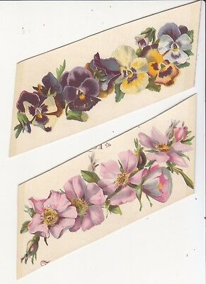 2 Manbert's Toilet Soaps Shaving Brushes Pink Flowers Pansies Vict Card c 1880s