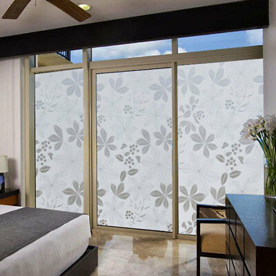 Bedroom Bathroom PVC Frosted Glass Sticker Flower Window Decoration For Privacy