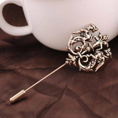 Men's Fashion Vintage Gold Lapel Pin Double Lion Brooches Wedding Party Corsage