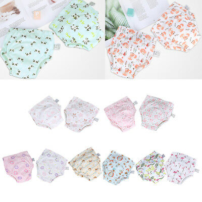 2Pcs Baby 4 Layers Training Pants Potty Cotton Cloth Diaper Nappy Underwear