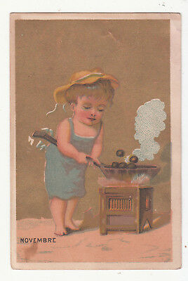 H S Ferris Boots & Shoes Newville PA November Cooking Pan Stove Card  c1880s