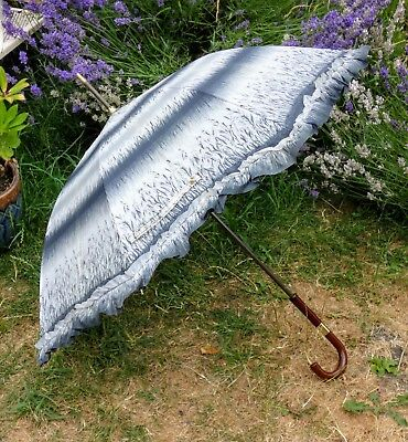 Vintage 1960s White & Grey Patterned Umbrella, Frilly Brolly, Parasol