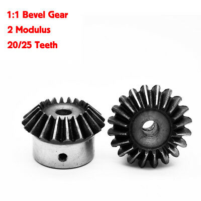 NEW 2Pcs 1:1 Bevel Gear 2 Modulus 20/25 Teeth ID=8/10/12/14/15/16/17/18/19/20MM