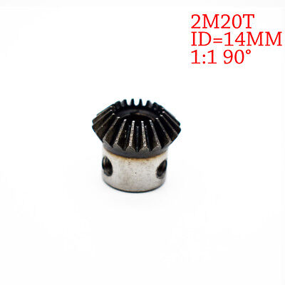 NEW 2Pcs 14mm 1:1 Bevel Gear 2 Modulus 20 Teeth ID= 14mm 90 Degree