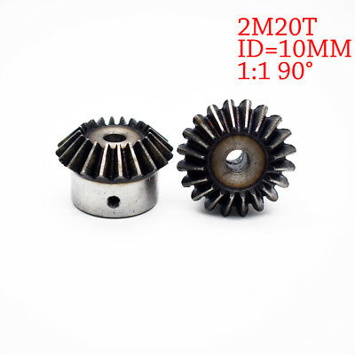 NEW 2Pcs 10mm 1:1 Bevel Gear 2 Modulus 20 Teeth ID= 10mm 90 Degree