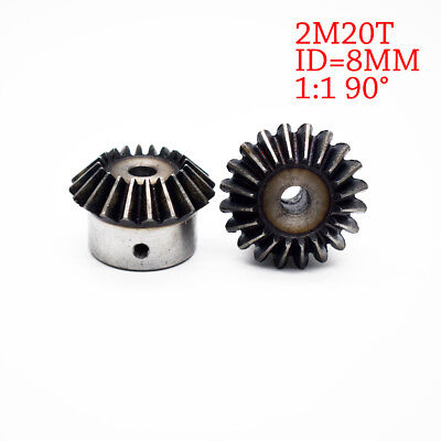 NEW 2Pcs 8mm 1:1 Bevel Gear 2 Modulus 20 Teeth ID= 8mm 90 Degree