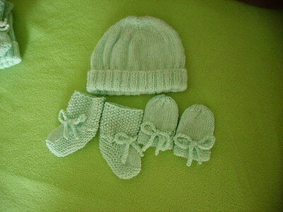Baby Set Beanie Booties &  Mittens - Pale Green -  Hand Knitted