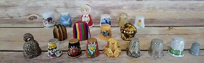 Vintage Thimble Collection of 19 Thimbles - Bone China Wood Metal Acrylic